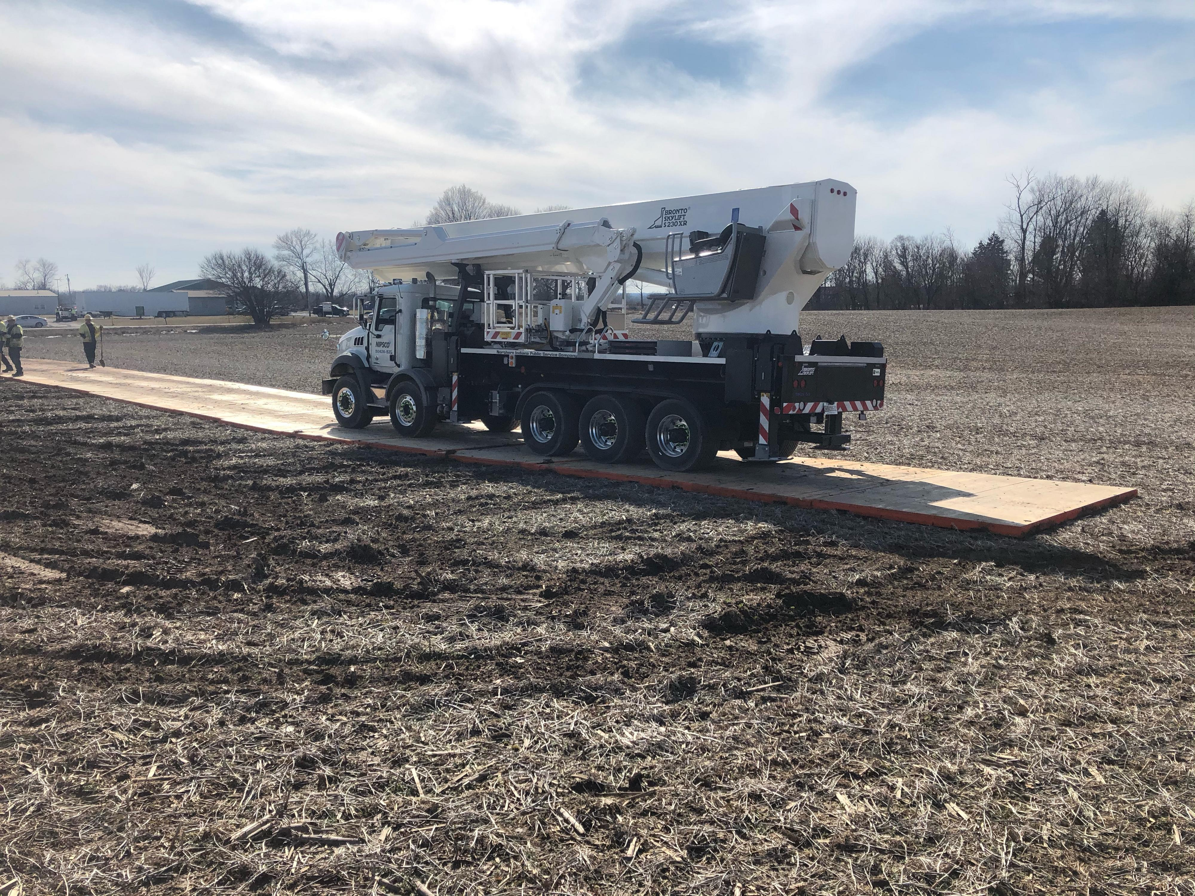 Bronto truckmounted aerial makes line work safer and more productive for Indiana utility