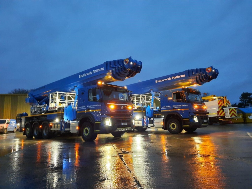 Nationwides Bronto S70XR aerial platforms at night