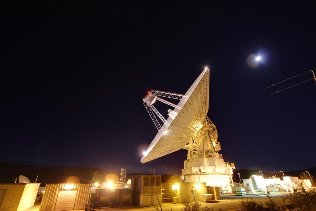 Goldstone's 230-foot (70-meter) antenna tracks spacecraft day and night.
